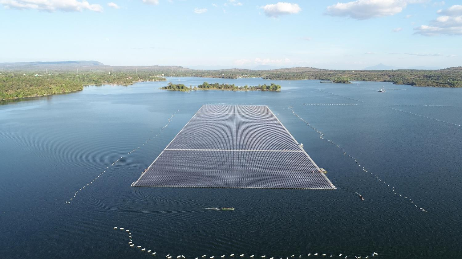 A floating solar power installation with a capacity of 45 megawatts in the reservoir of the Sirindhorn Dam in Ubon Ratchathani will be the world's largest when completed in June, according to the Electricity Generating Authority of Thailand. Photo Courtesy of EGAT