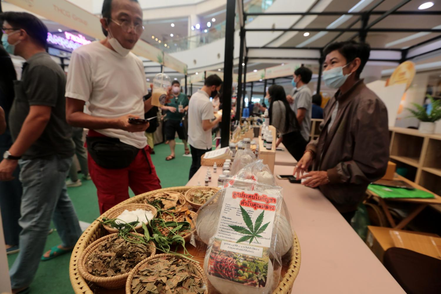 Products made from cannabis are displayed at a fair promoting marijuana and other plants that yield medicinal properties.(Photo by Chanat Katanyu)
