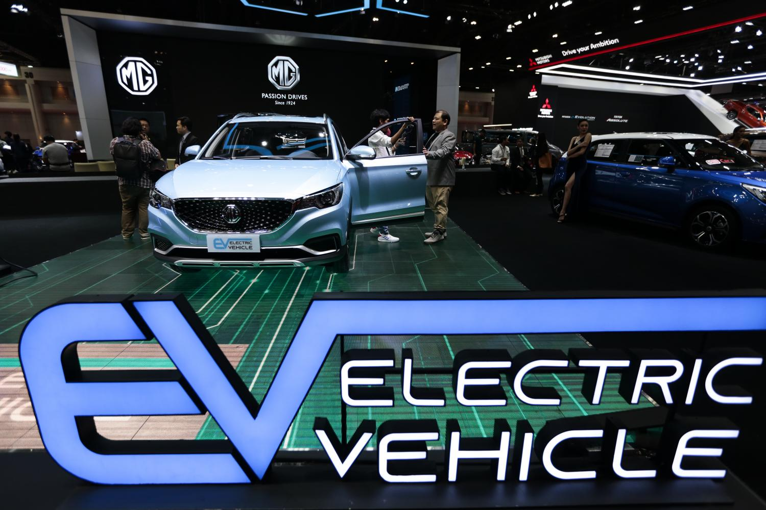 EVs showcased at Bangkok International Motor Show. SAIC Motor-CP targets to raise the number of EV charging outlets to 500 within this year.Patipat Janthong