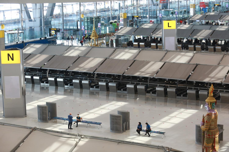 Bangkok's Suvarnabhumi airport, nearly deserted, amid the Covid-19 pandemic. (Photo by Somchai Poomlard)