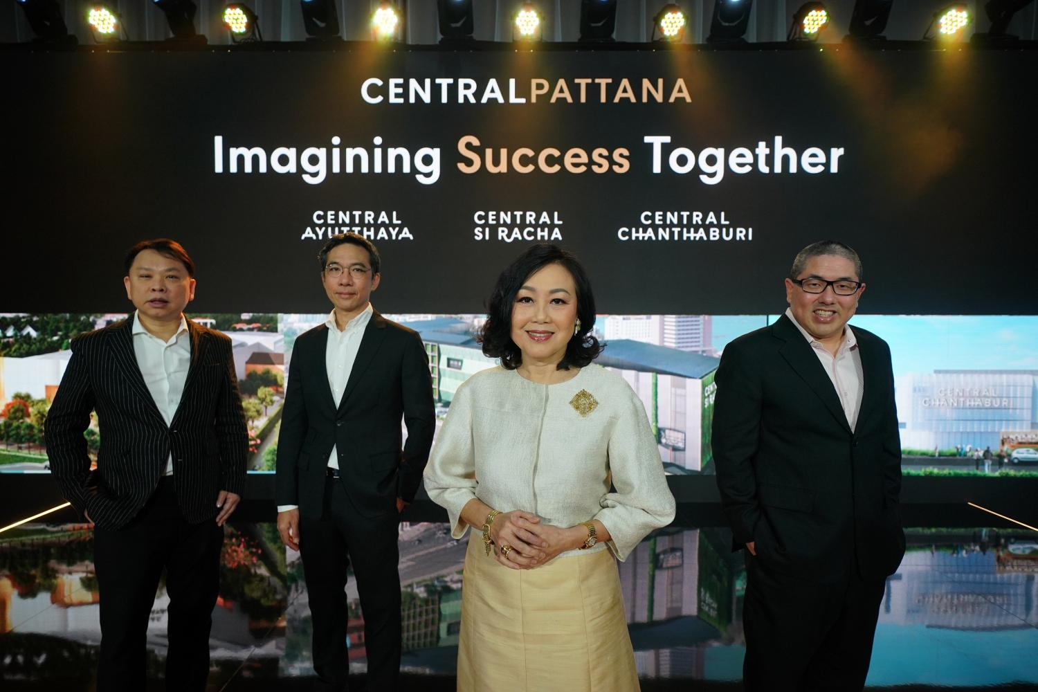Pictured from left are Mr Nattakit, Mr Chanavat, Ms Wallaya and Isareit Chirathivat, senior vice-president of leasing. CPN is introducing three new mixed-use projects.