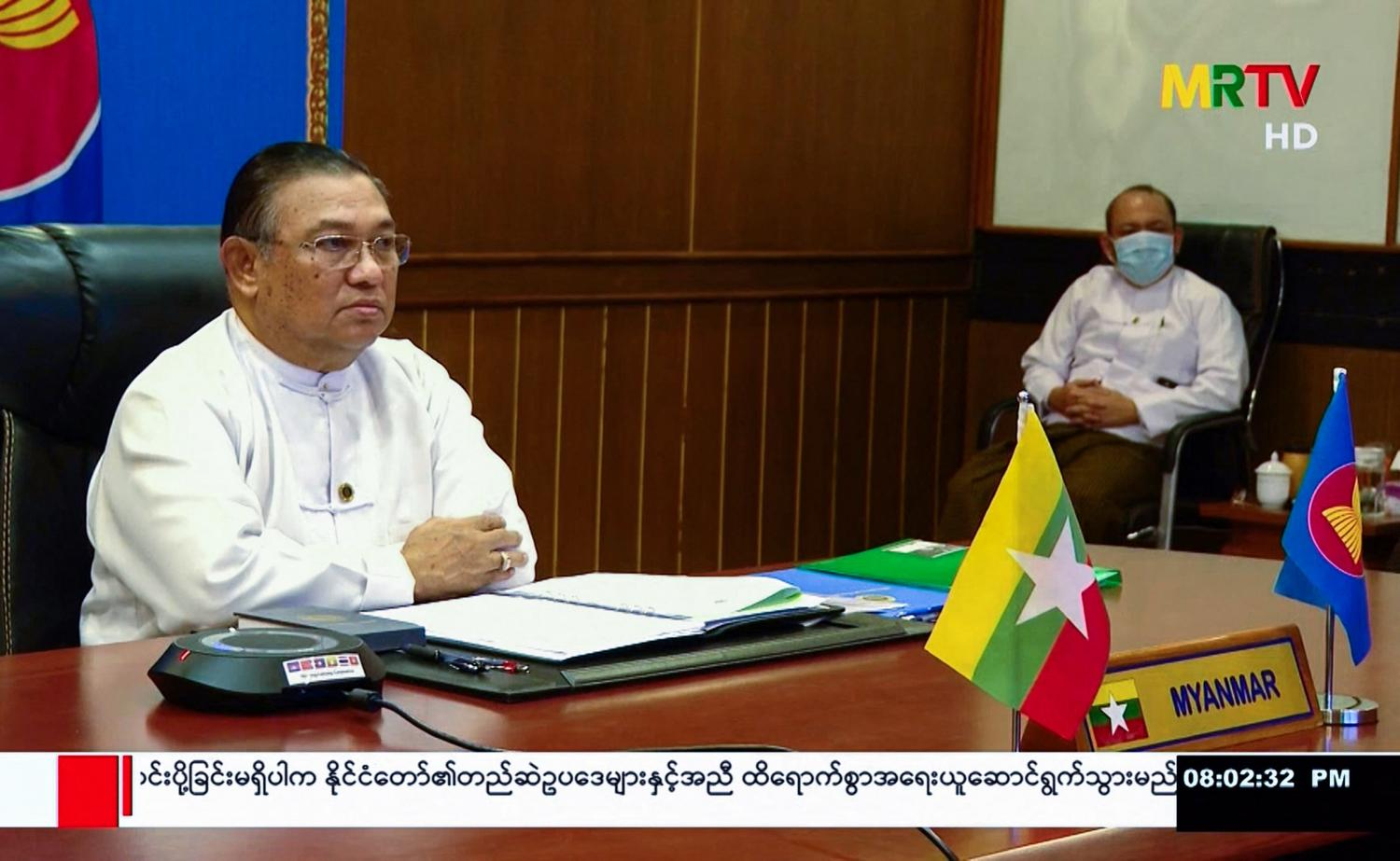 Myanmar's Foreign Minister Wunna Maung Lwin takes part in a virtual meeting of Asean foreign ministers in Nay Pyi Taw last Friday. AFP