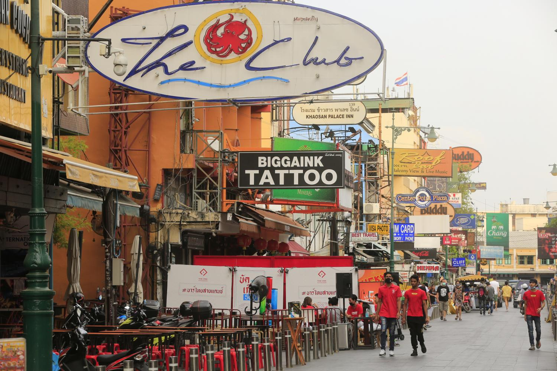 The atmosphere on Khao San road in Bangkok this year ahead of Songkran. (Photo by Pornprom Satrabhaya)