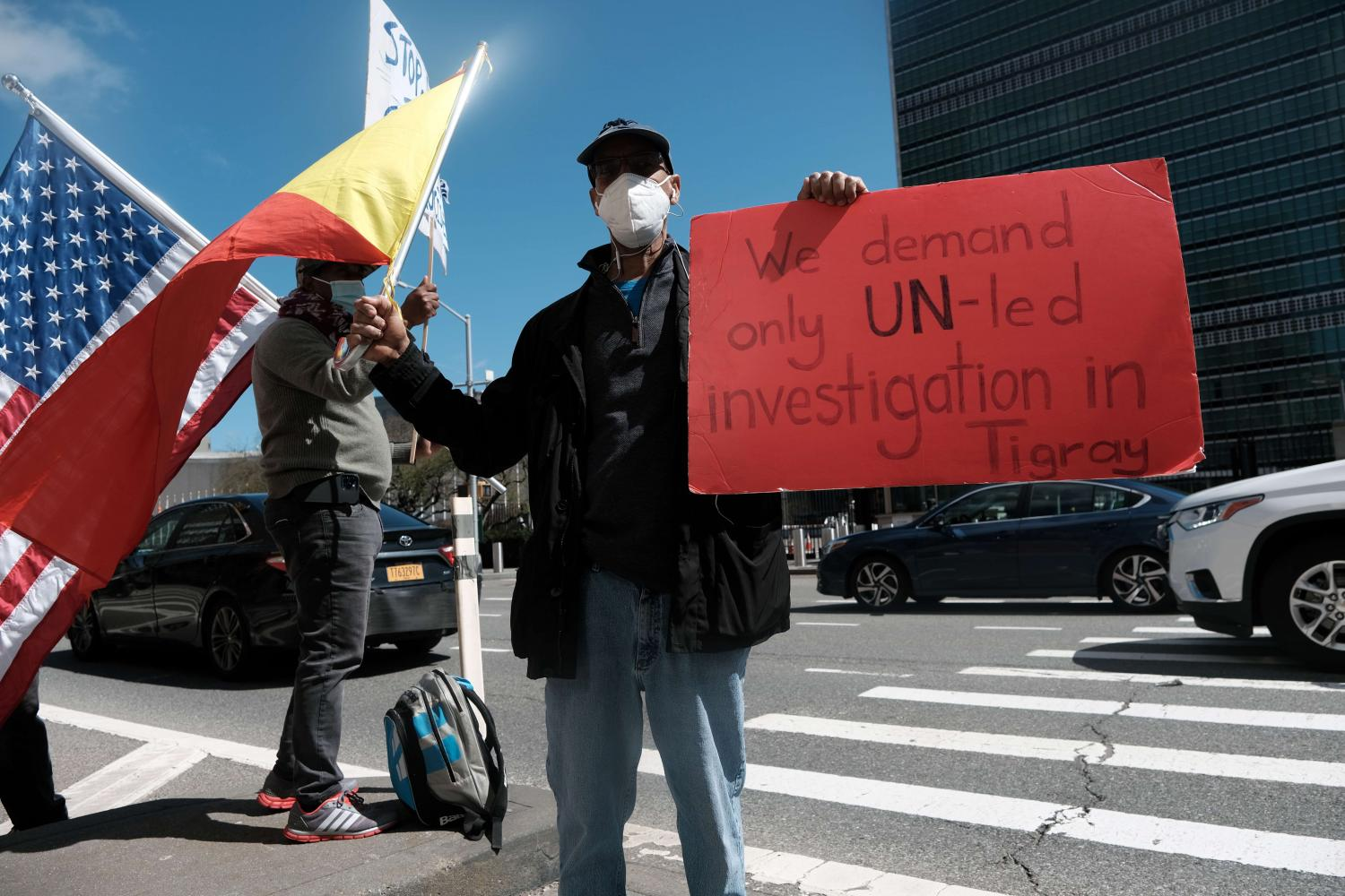 A small group of Tigrayan protesters gathers outside the United Nations on March 29 in New York City, calling for action to be taken against the Ethiopian government.(Photo: AFP)