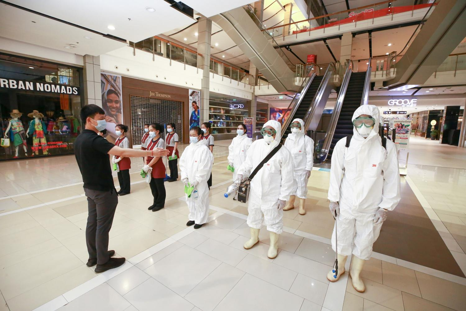 CentralWorld deploys a cleaning team as part of its 'Hygiene & Safety' master plan to weather the Covid-19 crisis.