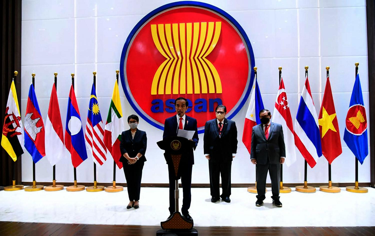 Indonesian President Joko Widodo, centre, delivers a speech at the Asean crisis talks on Myanmar in Jakarta on Saturday. From now on, Asean will be busy managing the crisis in Myanmar as part of the regional process of settling disputes.AFP