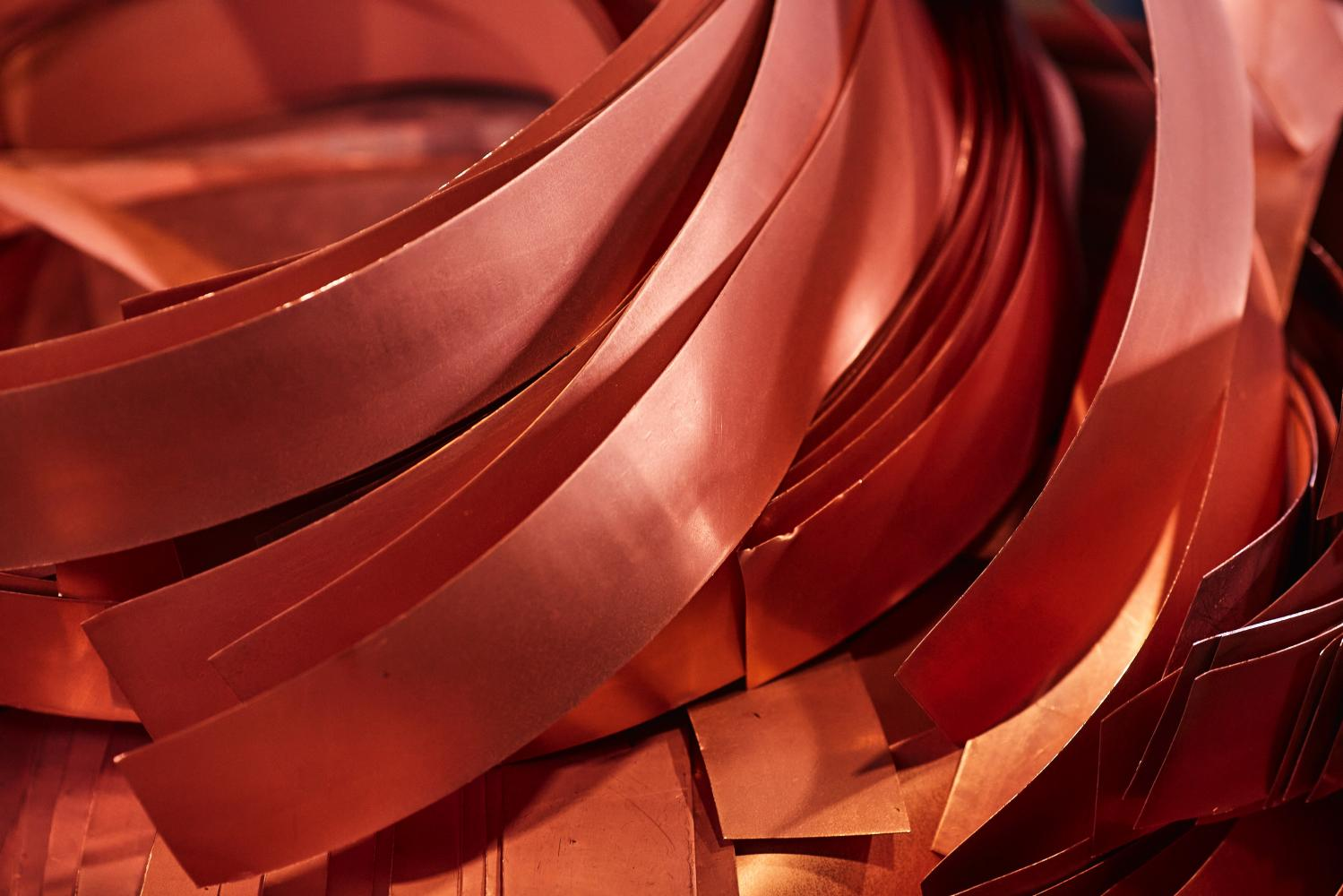 Off-cuts from newly formed copper cathode sheets at the KGHM Polska Miedz SA copper smelting plant in Glogow, Poland.(Photo: Bloomberg)