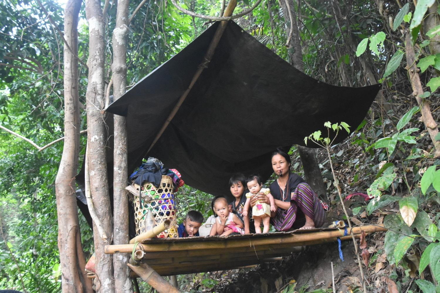 A family with four small children are among thousands of internally displaced persons hiding in the forests and unable to return home due to deadly airstrikes by the Myanmar army since March 27.saw kha pay mu nu