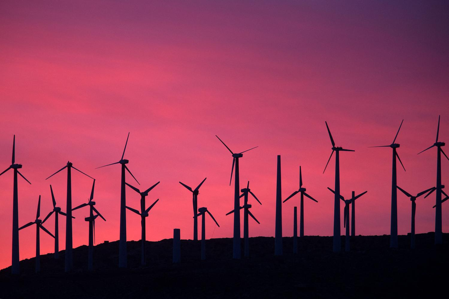 Energy generating wind turbines are seen on a wind farm in the San Gorgonio Pass area near Palm Springs, California.AFP