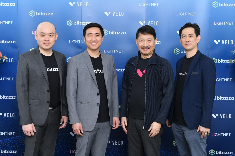 From left, Mr Heng, Mr Kavin, Mr Chatchaval and Tridbodi Arunanondchai during Bitazza's Lightnet Velo share acquisition announcement.