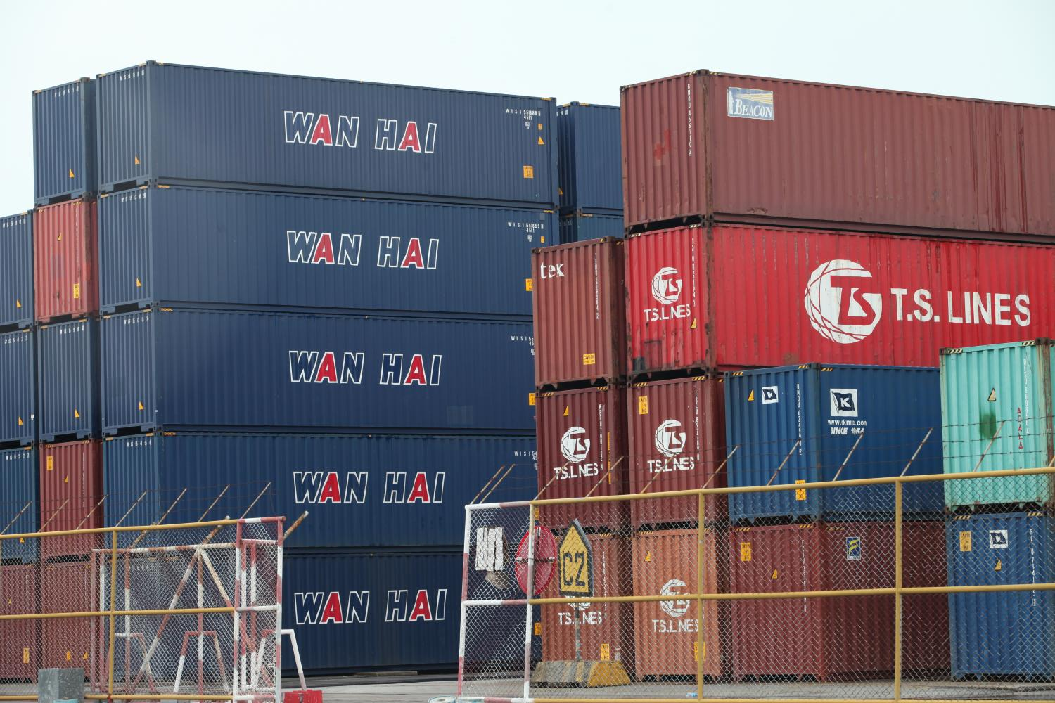 Containers for exports are seen at the Laem Chabang Port in Si Racha district, Chon Buri province.