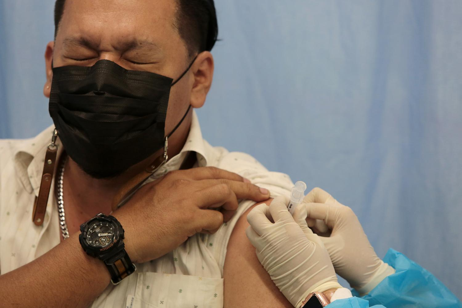 A vaccine clinic at the Big C super store in Bang Bon district of the capital. It is one of several non-hospital locations in the city.Chanat Katanyu