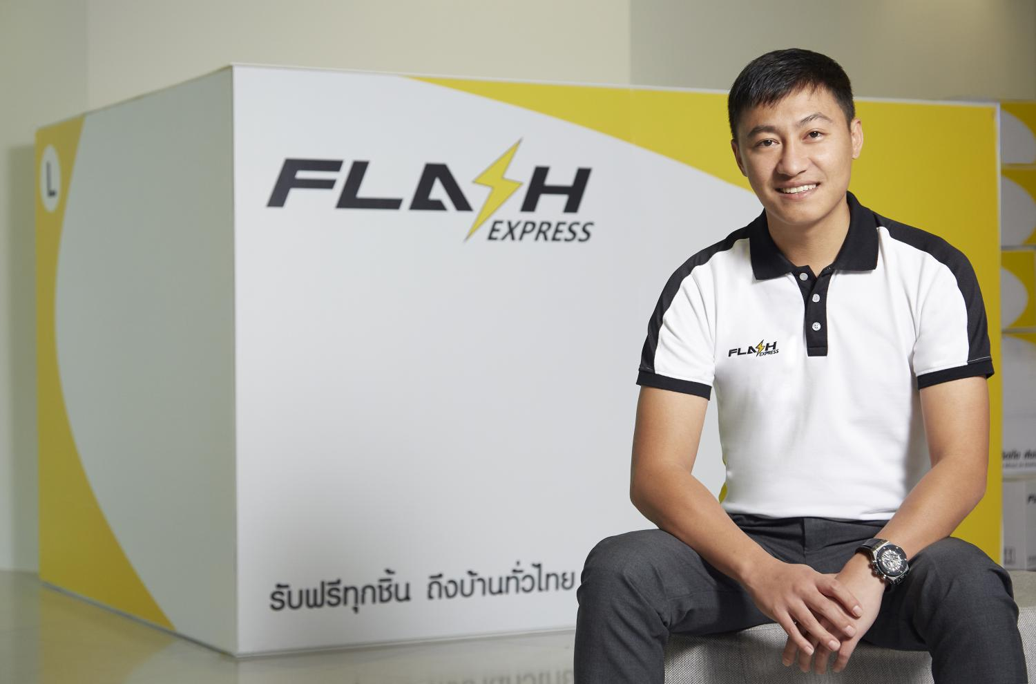 Mr Komsan started Flash Express in 2018 with 400 million baht.