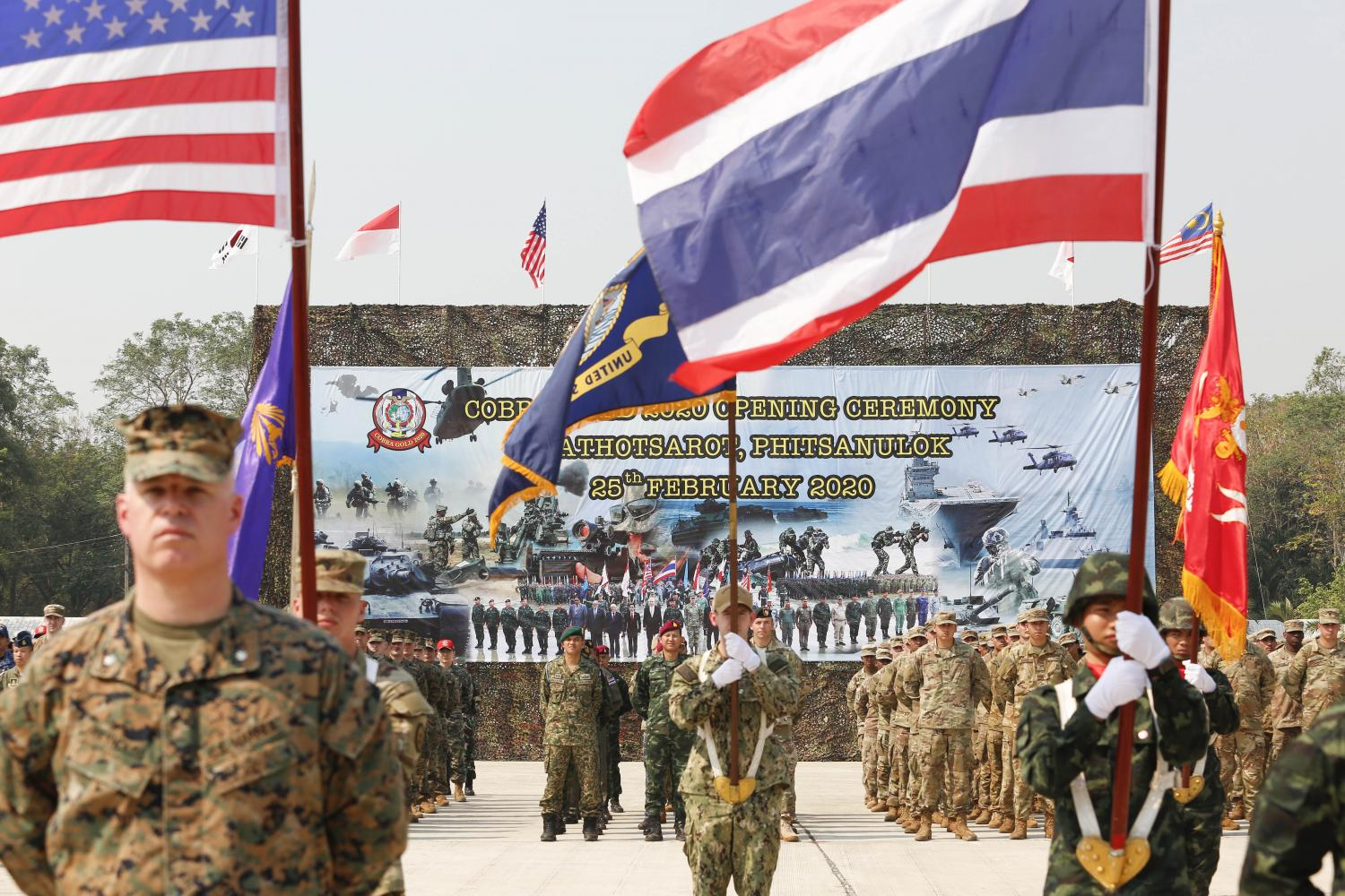 Soldiers from various nations take part in the opening ceremony of the 2020 Thai-US Cobra Gold military exercise in Phitsanulok in February last year. (Photo: Pattarapong Chatpattarasill)