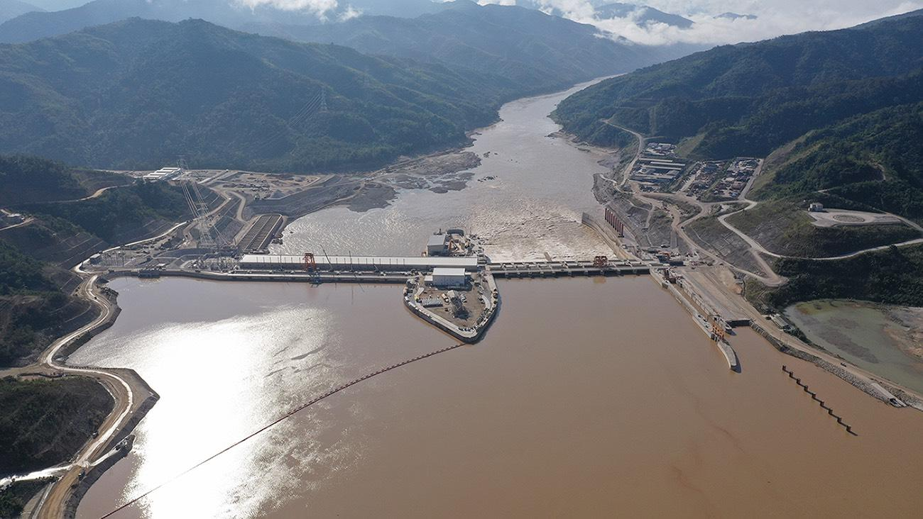 A bird's eye view of the Xayaburi hydroelectric power plant in Laos, which is owned and operated by Xayaburi Power Co.