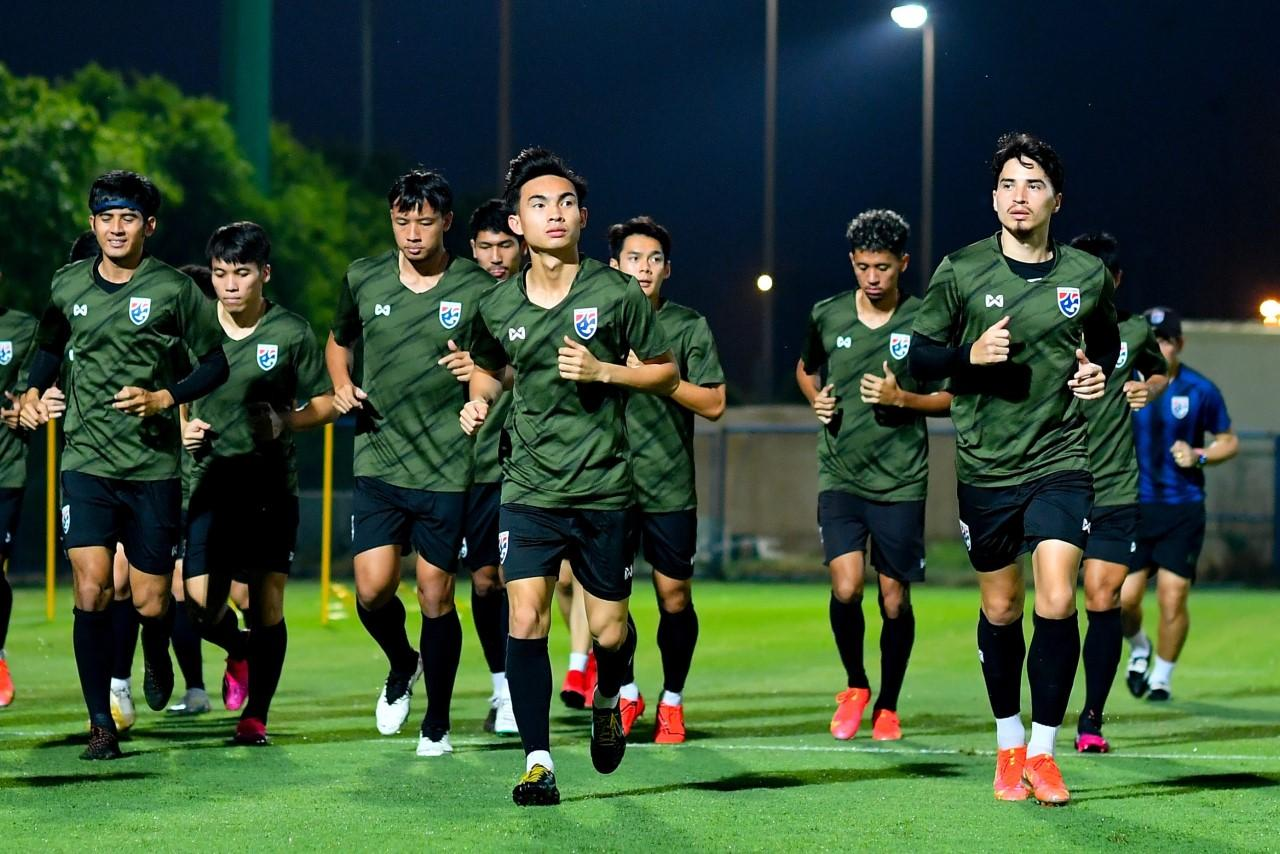 Thailand players take part in a training session in the UAE on Wednesday ahead of their World Cup qualifier against Indonesia on Thursday.