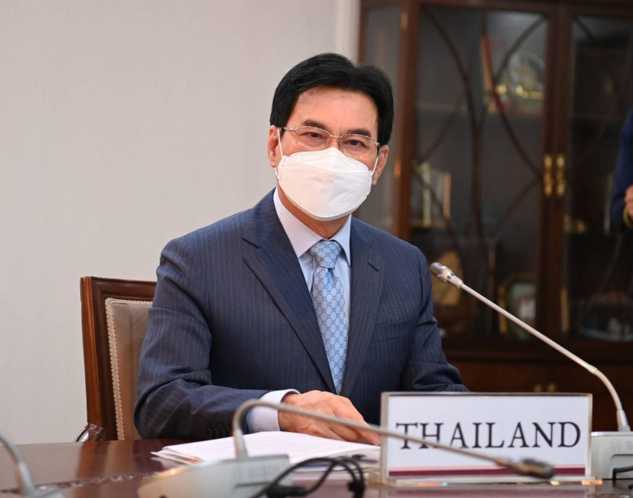 TRADE CHALLENGES: Commerce Minister Jurin Laksanawisit remotely attends the Apec trade ministers' meeting where he stresses equal access to vaccine for all Thais and urges the easing of border restrictions.