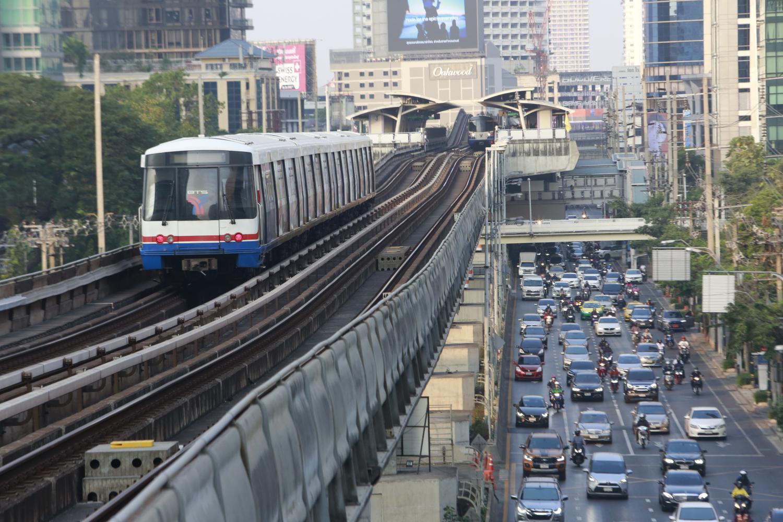 A BTS skytrain is set to pass through Saint Louis station on Sathorn Road in Bangkok. The Thai capital ranked 49th overall in the latest survey by Kisi. Arnun Chonmahatrakool