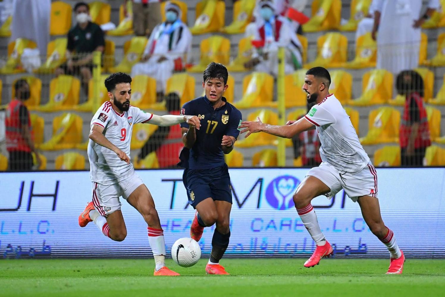 Thailand's Suphanat Mueanta, centre, in action against the UAE in Dubai.