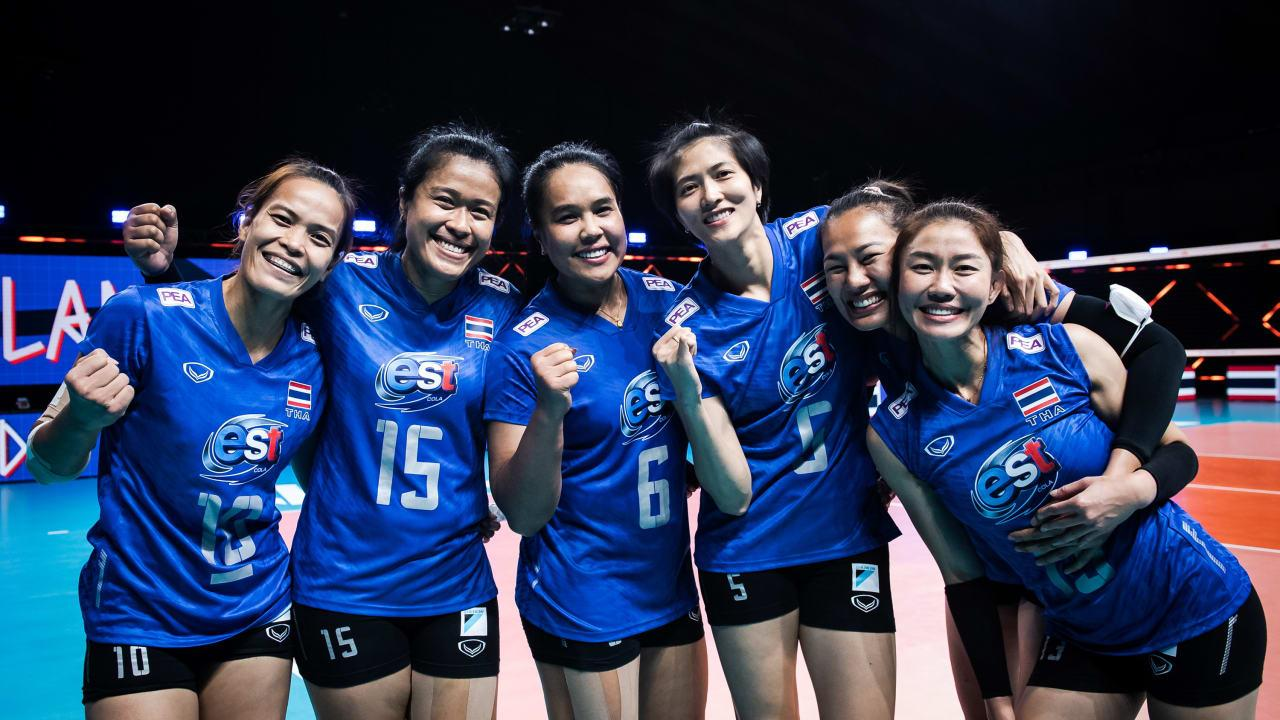 Thailand's Fab Six — from left, Wilavan Apinyapong, Malika Kanthong, Onuma Sittirak, Pleumjit Thinkaow, Amporn Hyapha, and Nootsara Tomkom — pose during the 2021 FIVB Women's Volleyball Nations League in Rimini, Italy.fivb