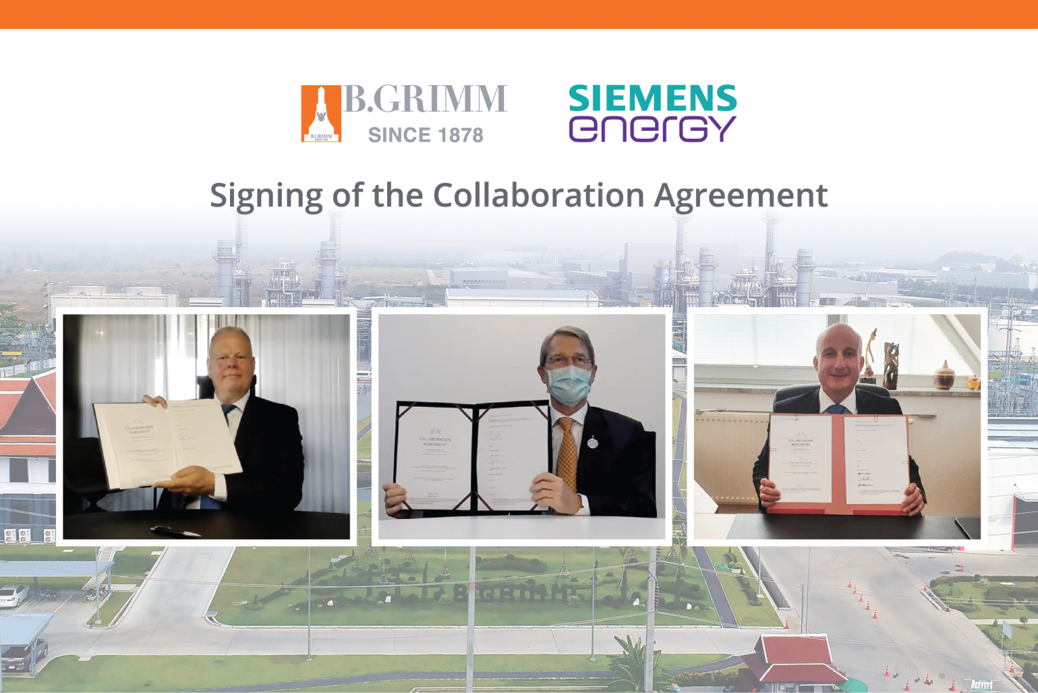 From left are Mr Fors, Mr Link, and Mr Lorenzini at the virtual signing of the collaboration agreement between B.Grimm Power Plc and Siemens Energy.