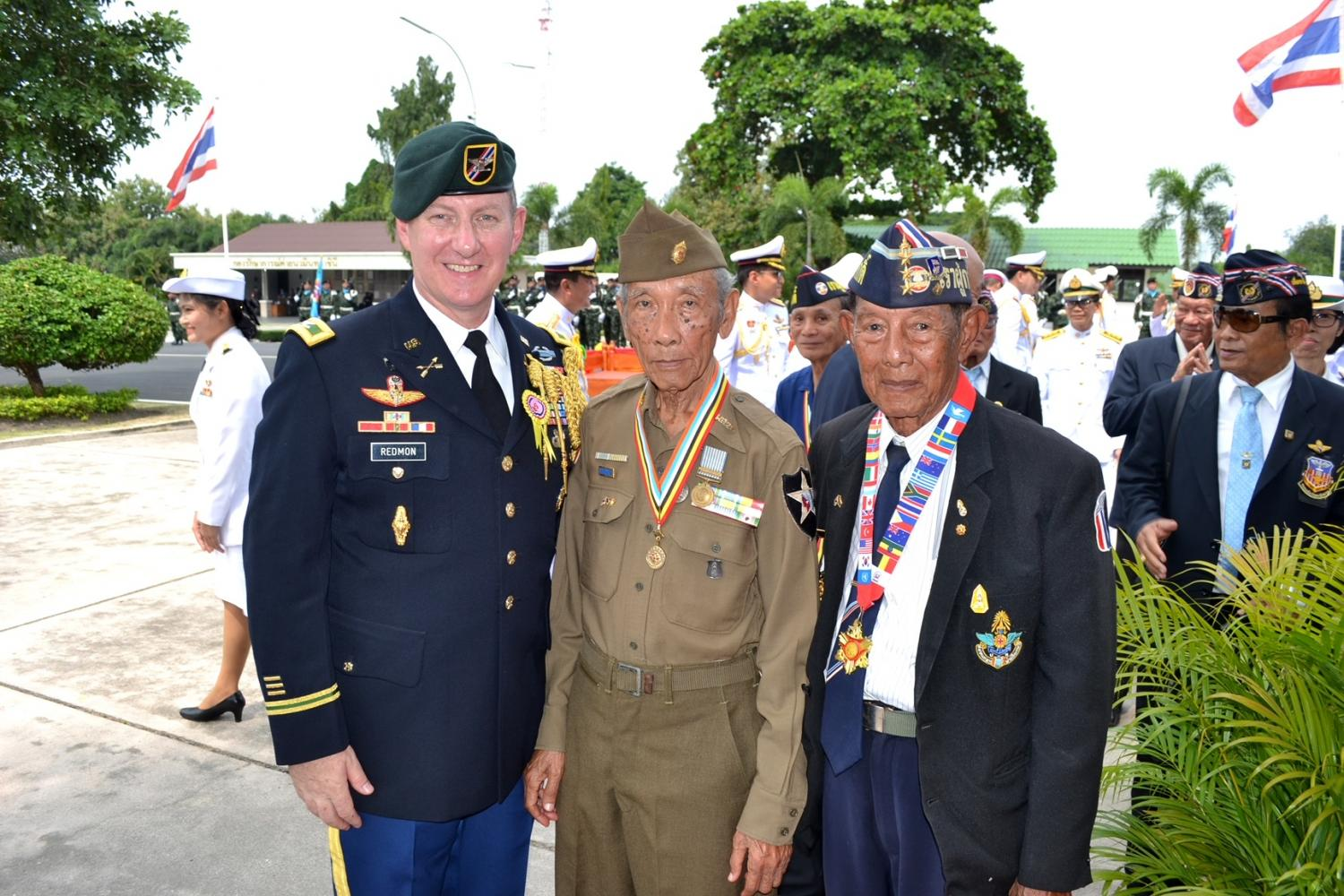 Col Larry Redmon, then Army Attache at the United States embassy in Bangkok, attends the Korean War Veterans Memorial Day at the 21st Infantry Regiment in Chon Buri in remembrance of Thai soldiers sent to fight from 1950 to 1953.Office of the US Army Attache