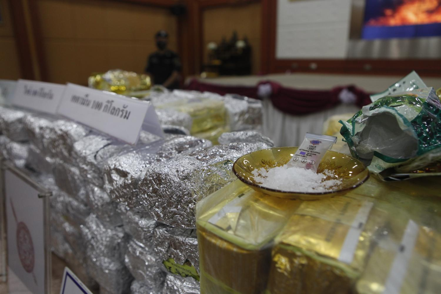 Confiscated synthetic drugs, including 167 kilogrammes of ketamine as well as other popular recreational drugs, in this file photo from April 7.(Photo: Nutthawat Wicheanbut)