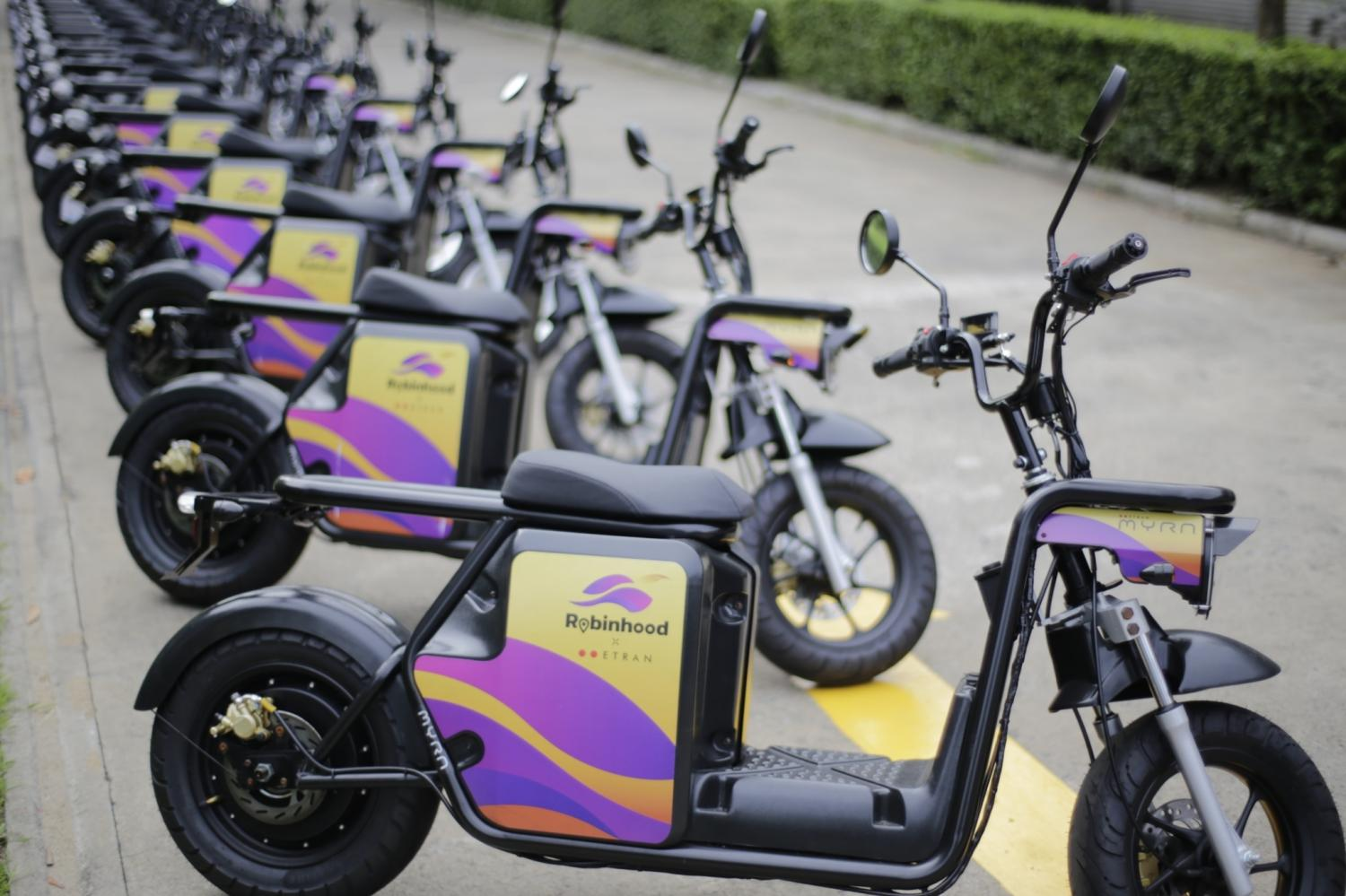 Electric motorcycles, developed by Etran (Thailand), will be sold to riders under Robinhood food delivery platform.