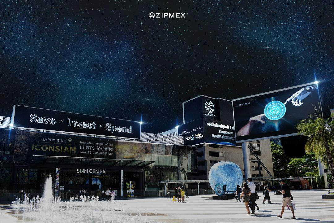 Parc Paragon in Bangkok. Zipmex was the first digital assets company to launch OOH ads in August of last year and recently in 3D on Plan B's innovative Out of Home Screen in the heart of Bangkok over the past month.