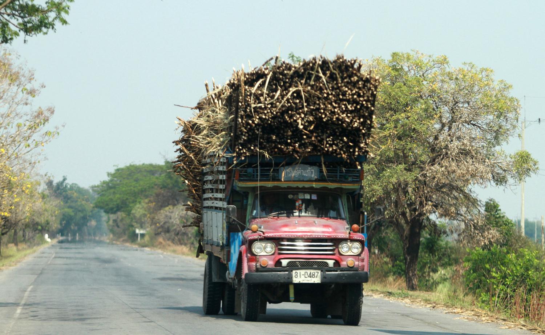 A truck carries sugar cane to a mill in Suphan Buri province. Thanarak Khunton