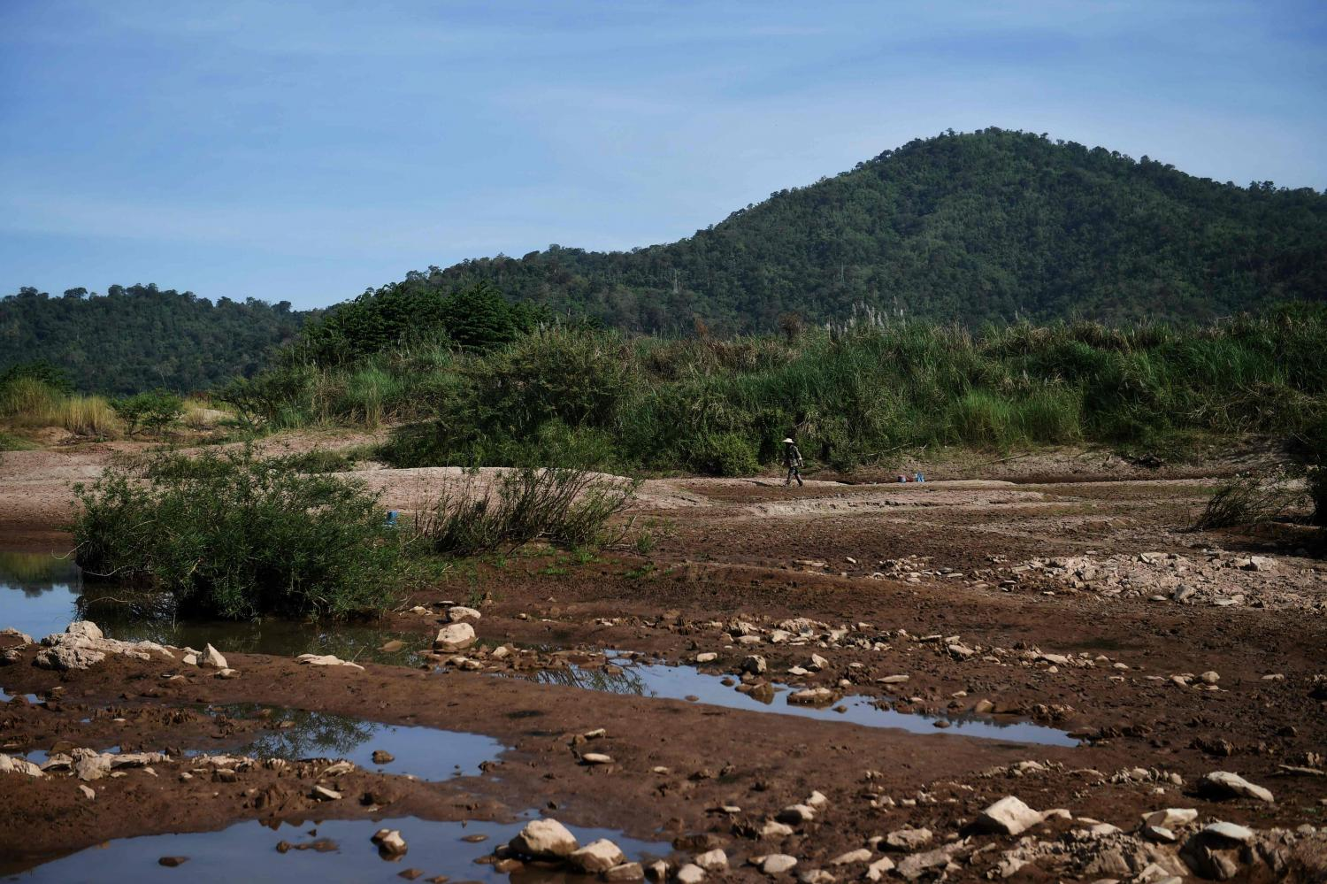 A dried riverbank area of the Mekong River in Pak Chom district in the northeastern province of Loei. China was pressed in June last year to share year-round data on water levels.AFP
