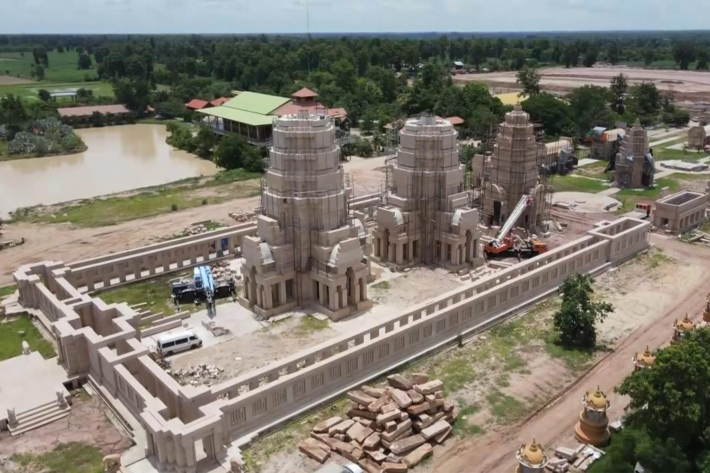 An aerial shot of the Sihanakhon complex under construction at Wat Phu Man Fah in Nang Rong district of Buri Ram. (Photo: Surachai Piraksa)