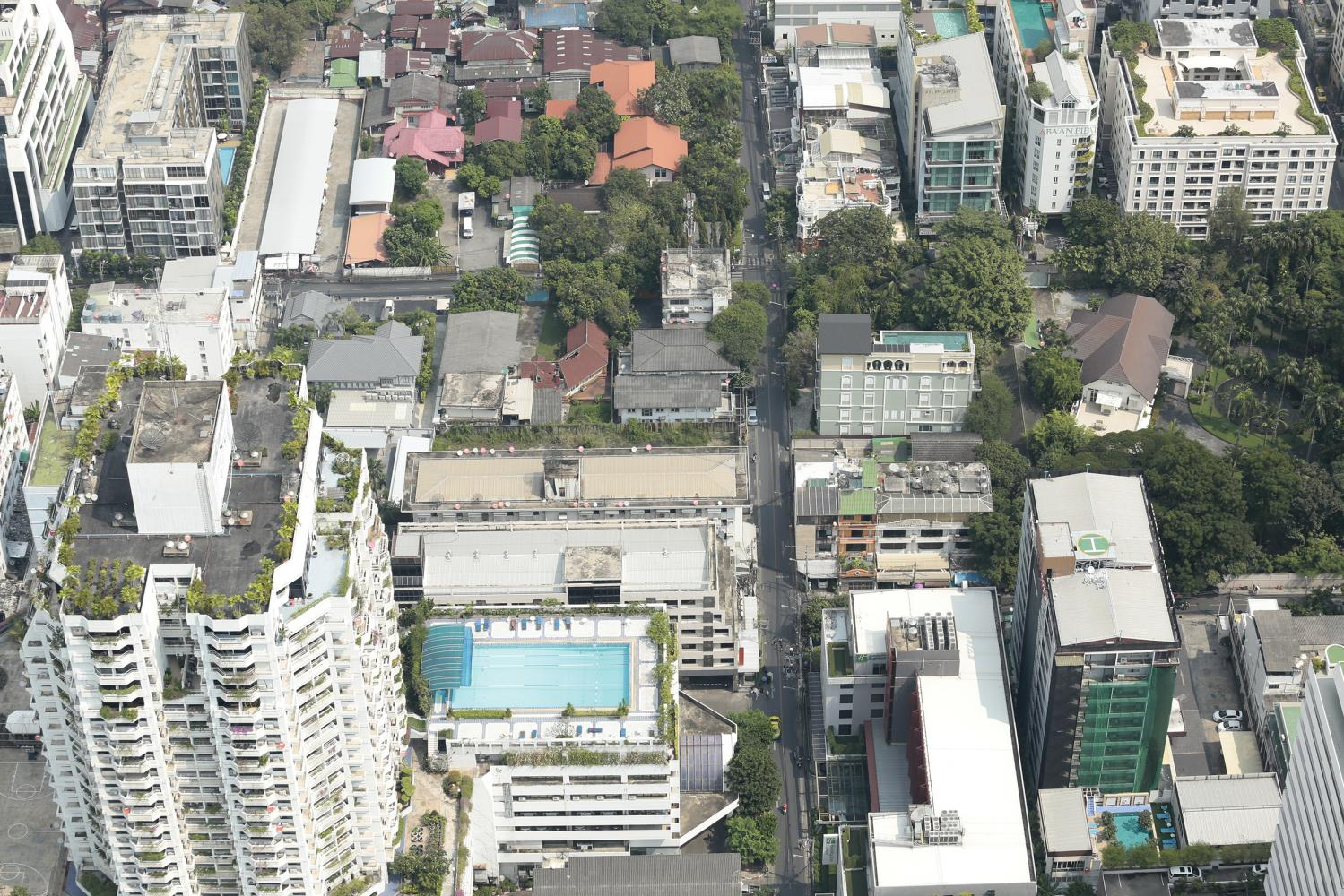 An aerial view of property and buildings in Bangkok.(Photo: Patipat Janthong)