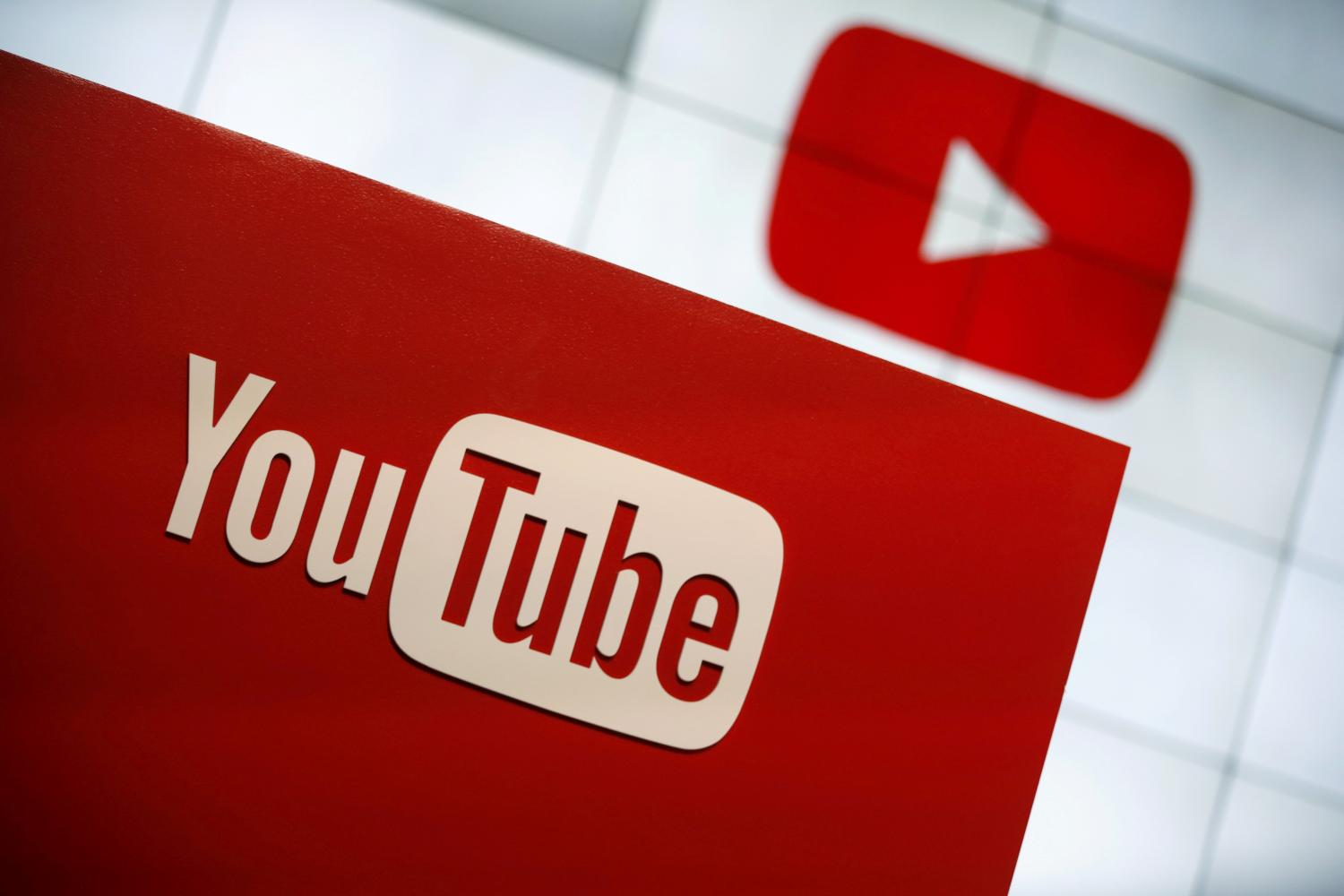 A YouTube logo seen at the YouTube Space LA in this file photo. (Reuters photo)