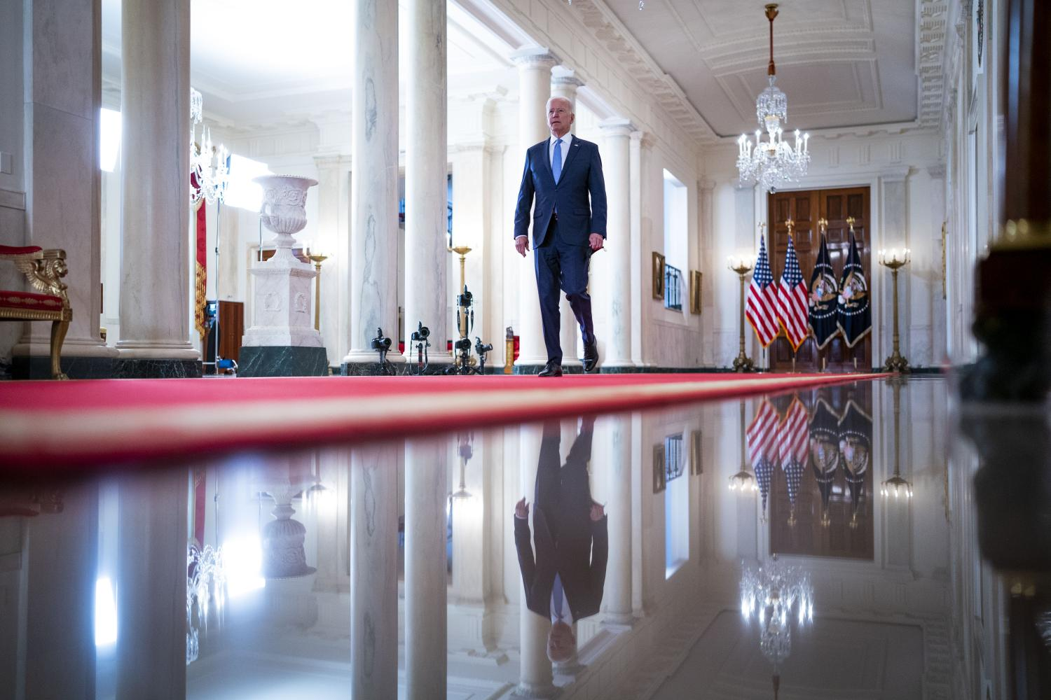 US President Joe Biden arrives to deliver remarks on the end of the war in Afghanistan at the White House in Washington DC on Aug 31. A Biden doctrine is emerging of a foreign policy that avoids the aggressive tactics of 'forever wars' and nation building.NYT