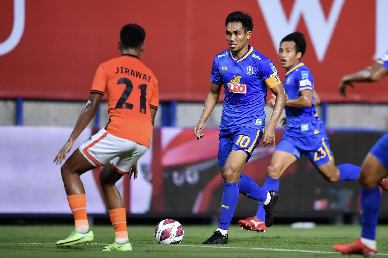 BG Pathum's Teerasil Dangda, No.10, in action against Ratchaburi in Thai League 1.