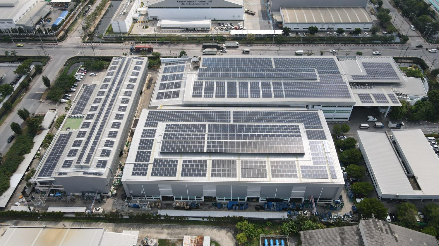 Rooftop solar panels are installed at an industrial site to take advantage of the larger surface areas. Photo: Constant Energy