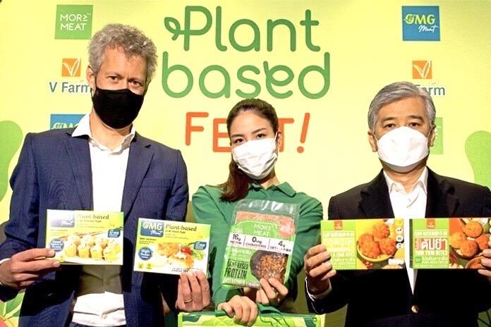 Mr Apirak, right, says V Foods transformed into a plant-based food and beverage company earlier this year.