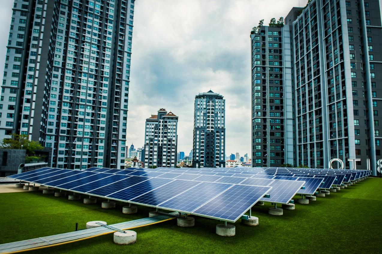 Rooftop solar panels at the T77 project, jointly developed by BCPG and Sansiri in Bangkok's Sukhumvit area.
