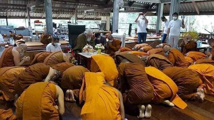 Ex-monk causes stir on return